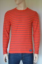 NEW Abercrombie & Fitch Long Sleeve Striped Crew Tee T-Shirt Orange Brick Red M