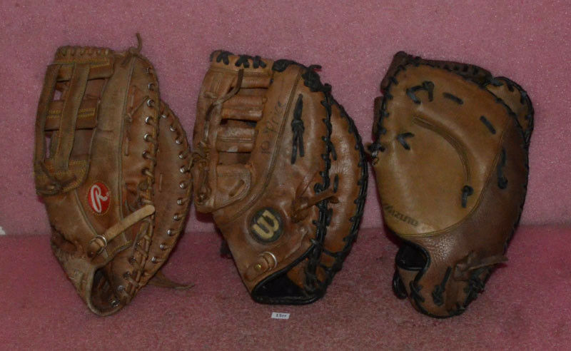 3 Vintage Guantes de béisbol ___ Mizuno GXF 81 ___ ___ C100-FB Rawlings Wilson A0500PBM.