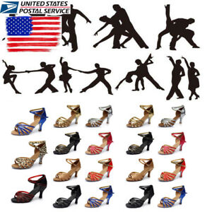 US-STOCK-Womens-Latin-Salsa-Tango-Jazz-Dance-Ballroom-Sandals-Heeled-Shoes-Size