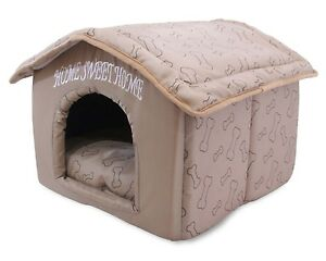 indoor dog house kennel plush warm portable pet bed washable small puppy cat ebay. Black Bedroom Furniture Sets. Home Design Ideas