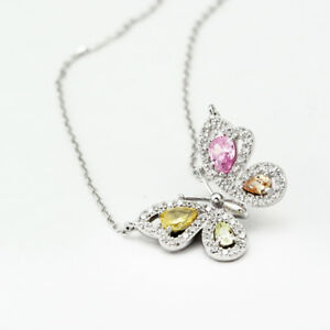 Stunning-925-Sterling-Silver-Crystals-From-Swarovski-Butterfly-Pendant-Necklace