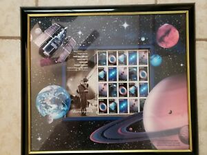 3384-3388a-Edwin-Hubble-Space-Telescope-Space-Stamps-USPS-Framed-Art-amp-COA