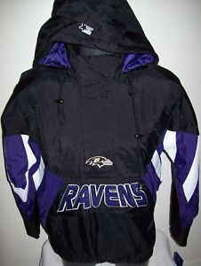 the latest 90edb 3f877 Details about BALTIMORE RAVENS NFL Starter Hooded Half Zip Pullover Jacket  M L XL 2X BLACK