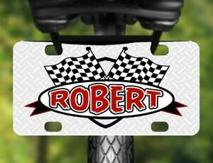 CHECKERED FLAG MINI LICENSE PLATE Personalized Bike Accessory for Kids Tricycles