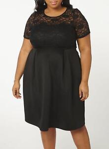 Kleid Gr.54 Spitzenkleid Stretchkleid knielang schwarz ...