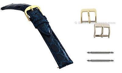 Genuine Crocodile Skin Navy Blue Handmade Watch Band Strap, 16mm, 18mm, 20mm