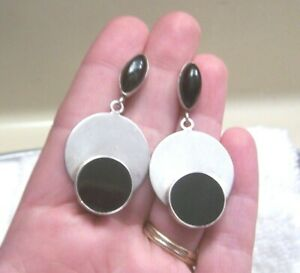 VINTAGE-TAXCO-MEXICO-EARRINGS-STERLING-SILVER-925-ONYX-DROP-DANGLE-POSTS-ESTATE