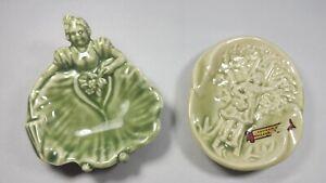 2-Rare-1951-B-Hasenstab-Art-Deco-Nude-Ashtrays-Green-Glaze-UNUSED-Bare-Bottoms