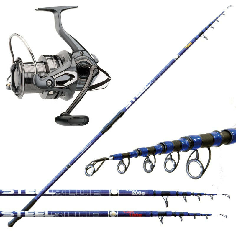 KP3326 Kit Pesca Surfcasting Canna blu Steel 200 Gr  Mulinello Emcast  CSP