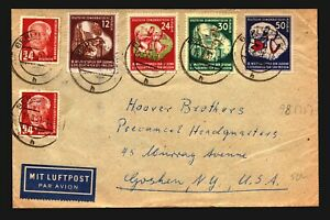 Germany-DDR-1951-Cover-to-USA-w-Several-Better-Issues-Z14107