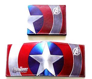 Herren-Falttueren-Wallet-Jungen-Herren-Avengers-Captain-America-Muenzen-Karten-ID-Cartoon