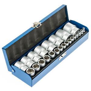 Zoll-Werkzeug-Harley-Nuesse-24-tlg-Steckschluessel-Satz-Steck-Nuss-Kasten-zoellig