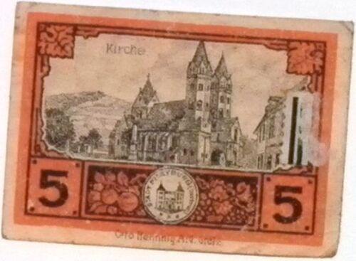 1920 Germany FREIBURG 5  Phennig Notgeld Banknote
