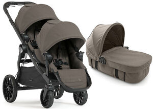 Baby-Jogger-City-Select-Lux-Twin-Double-Stroller-Taupe-w-Second-Seat-amp-Bassinet