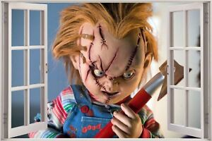 Huge 3d window view chucky doll wall sticker film mural art decal image is loading huge 3d window view chucky doll wall sticker voltagebd Choice Image