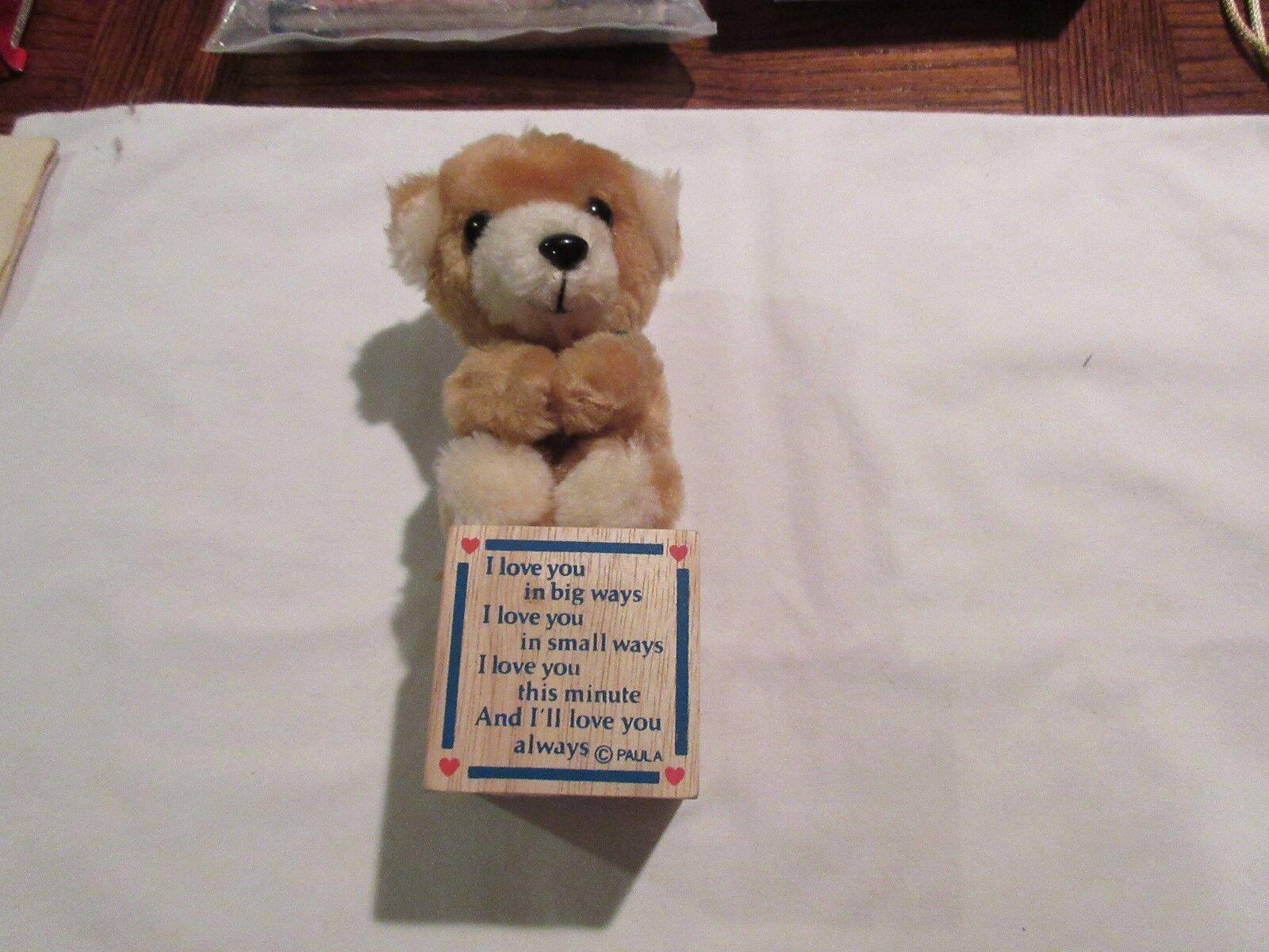Stuffed Animal, Bear On A Block, Block Has Saying,By C.