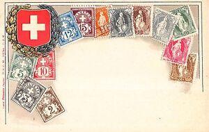 Stamp-Card-Postcard-Showing-Helvetia-Switzerland-Postage-Stamps-107981