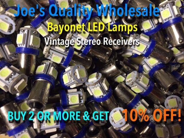 (100)BAYONET LED LAMPS-6.3V/AC-COOL BLUE-MC/MAC/AMP FRONT PANEL-BA9s/VINTAGE-AMP
