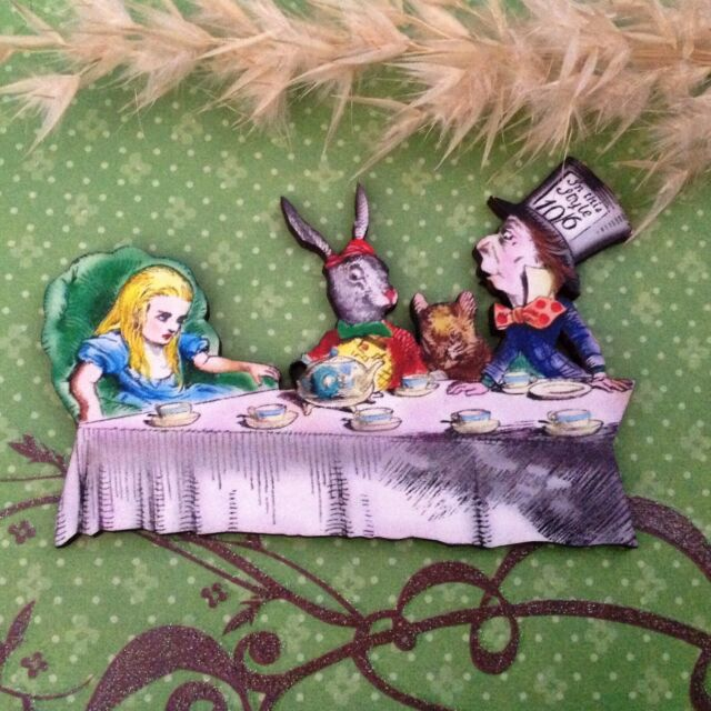 Alice In Wonderland Theme Pin Brooch Silver Jewellery Gift Clock Mad Hatter