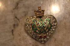 Kenneth Jay Lane Treasures of the Duchess Heart Rhinestone  pin brooch Antique