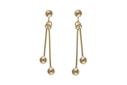 Details about  /Solid Gold Drop Earrings Stick Ball Drops 9 Carat Yellow 375 Hallmarked