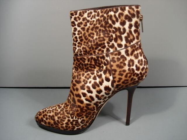 Jimmy Choo Atlanis Leopardenmuster Kalb-Haar Plateau Stiefeletten Stiefel 37 7