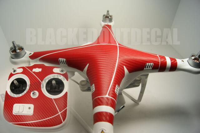 DJI Phantom  / Remote RED Carbon Fiber Graphic Wrap Decal Skin vision plus 1 2 +