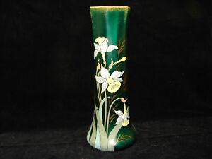Joli-ancien-vase-emaille-decor-narcisses-30-5-cm