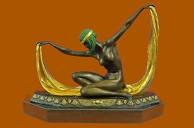 ~C.MIRVAL~ bronze statue art deco dancing girl sculpture Marble Base Figurine NR