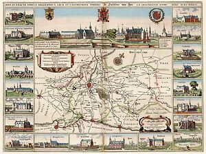 ART-PRINT-POSTER-MAP-OLD-YPRES-BELGIUM-NETHERLANDS-CITY-PLAN-SURROUND-NOFL0712