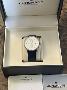 Stunning German Made Junghans Chronoscope Form C Silver Dial Watch Box Set.