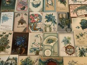 Nice-Lot-of-25-FORGET-ME-NOTS-FLOWERS-Vintage-Greeting-Postcards-in-Sleeves-a578