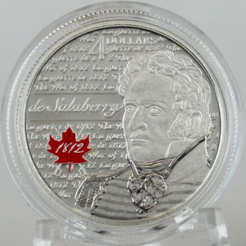 War of 1812 2013 de Salaberry $4 Pure Silver Color Proof Coin ¼ Troy oz