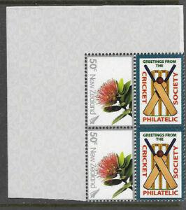 NEW-ZEALAND-2009-Cricket-Philatelic-Society-Flower-Personalised-Stamp-PAIR-MNH