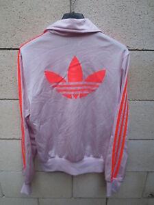Détails sur Veste ADIDAS rétro vintage rose pink TREFOIL sport détente tracktop jacket 40