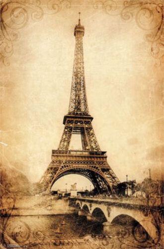 ART POSTER EIFFEL TOWER VINTAGE 22x34 SCENIC PARIS FRANCE 13411