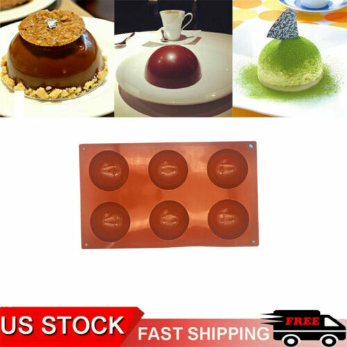 6 Cavity Half Ball Sphere Cake Silicone Mold Muffin Chocolate Baking Pan Mould