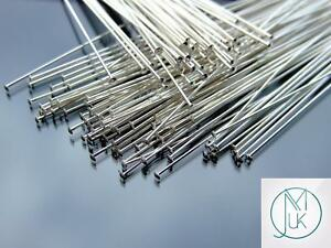 Solid-925-Sterling-Silver-Flat-End-3inch-76-2mm-Head-Pins-Jewellery-Making