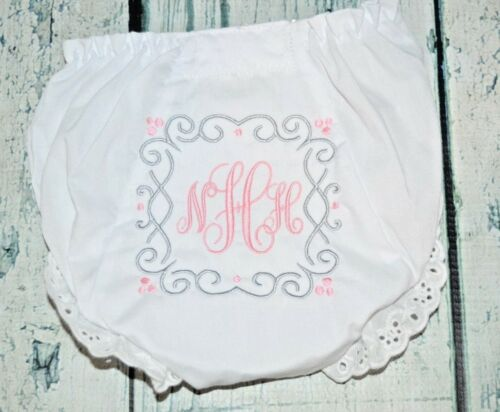 Monogrammed Baby Bloomers Square Scroll Design Girls Diaper Cover Baby Gift New