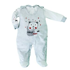 Baby-Infant-Girls-Boys-2-Pieces-GREY-Set-Outfit-100-COTTON-NB-0-3-3-6-Months