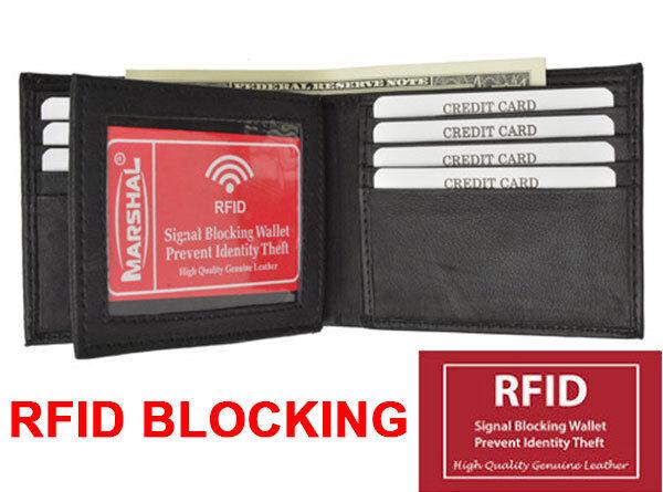 Black RFID Blocking Men's Bifold Leather Center Flap Wallet New