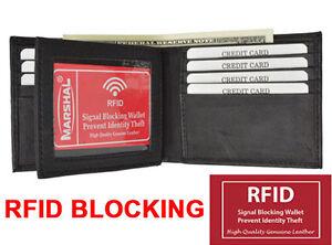 Black-RFID-Blocking-Men-039-s-Bifold-Leather-Center-Flap-Wallet-New