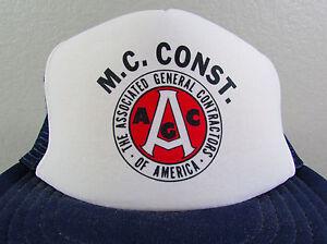 Vintage-MC-CONST-Contractors-Navy-Blue-Mesh-Adjustable-Snapback-Trucker-Hat-Cap