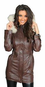 1618c07b108 Womens Soft Brown PARKA Leather COAT Latest Hooded Fitted Zip ...