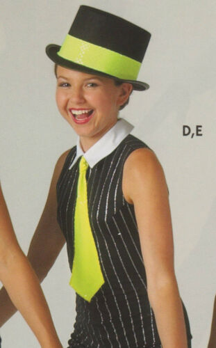 New DANCE TAP JAZZ HAT BAND AND TIE FL GREEN FAUX SEQUIN Medium Child