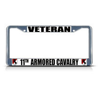 Veteran 11th Armored Cavalry Army Metal License Plate Frame Tag Border Two Holes