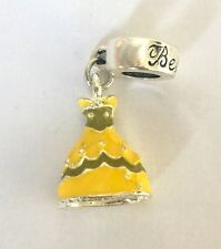 Princess Belle From Disney Yellow Dress Pendant Charm For Bracelets Silver Plate