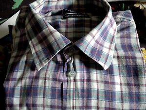 Chemise, Manches Courtes 33, Bleu-à Carreaux, Taille 45-46, Vintage