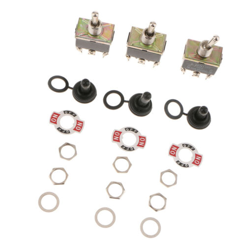3PCS Strong Toggle Switch ON//OFF//ON Momentary Car Dash 15A 250V SPDT Black