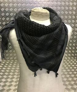 100% Cotton Shemagh / Arab Scarf / Pashmina / Wrap/Sarong Subdued Grey/Black NEW